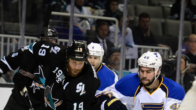 Joe Thornton #19 Of The San Jose Sharks Attacks The Goal From Behind The Net Guarded By Roman Polak #46 Of The St Getty Images