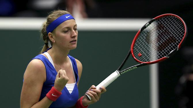 Czech Republic's Petra Kvitova reacts after winning against France's Kristina Mladenovic during their semifinal match of the Fed Cup tennis tournament in Ostrava