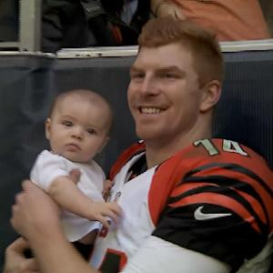 Cincinnati Bengals quarterback Andy Dalton shares a family moment