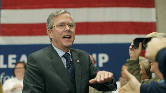 Republican presiential candidate Jeb Bush greets supporters at a campaign event in Anderson, South Carolina