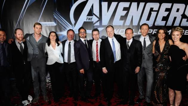 Mark Ruffalo, Director Joss Whedon, actor Chris Hemsworth, Executive Producers Victoria Alonso and Louis D'Esposito, actor Robert Downey Jr., Executive Producer Jeremy Latcham, President of Production, Marvel Studios and producer Kevin Feige and actors Clark Gregg, Tom Hiddleston, Cobie Smulders and Scarlett Johansson attend the premiere of Marvel Studios' 'Marvel's The Avengers' held at the El Capitan Theatre on April 11, 2012 in Hollywood, Calif. -- Getty Premium