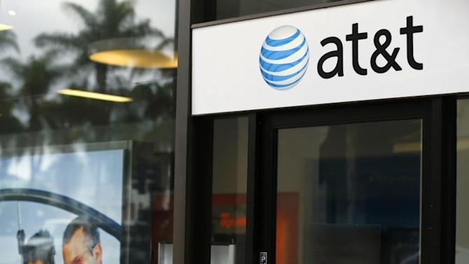 An AT&T wireless store front is pictured in in San Diego