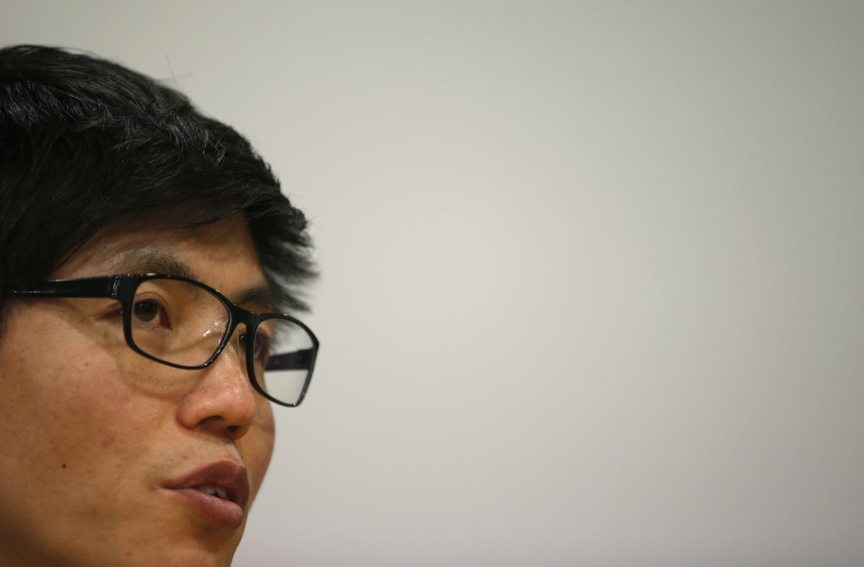 Shin Dong-hyuk speaks during an interview with Reuters in Seoul