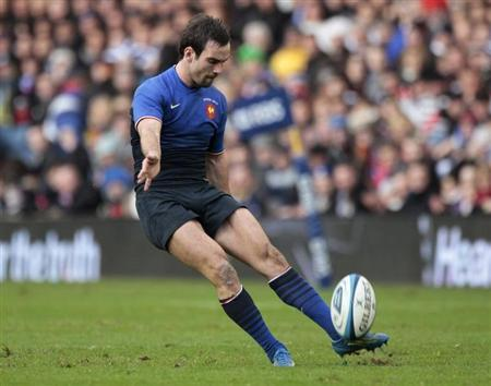 France's Parra takes a penalty kick at goal against Scotland during their Six Nations rugby union match in Edinburgh