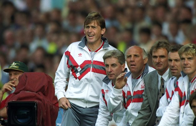Liverpool Manager Kenny Dalglish Looks On Next To (L-R) Roy Evans, Ronnie Moran, Phil Thompson, Ronnie Rosenthal And Getty Images