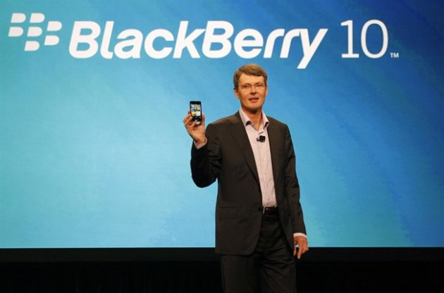 In this May 1, 2012 photo, Research In Motion's Thorsten Heins delivers the keynote speech during the BlackBerry World conference in Orlando, Fla. THE CANADIAN PRESS/AP, Reinhold Matay