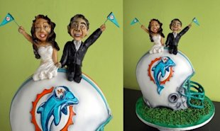 Miami Dolphins fans represent their team even on their wedding day!