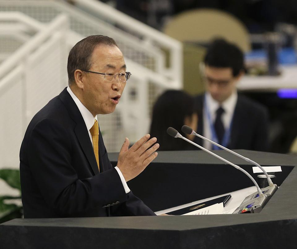 United Nations Secretary-General Ban Ki-moon speaks during the 68th session of the General Assembly at U.N. headquarters, Tuesday, Sept. 24, 2013. (AP Photo/Seth Wenig)