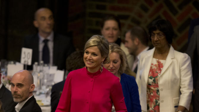 Netherlands Queen Maxima arrives for the opening of conference to mark the May 17 annual International Day Against Homophobia, in The Hague, Netherlands, Thursday May 16, 2013. (AP Photo/Peter Dejong)