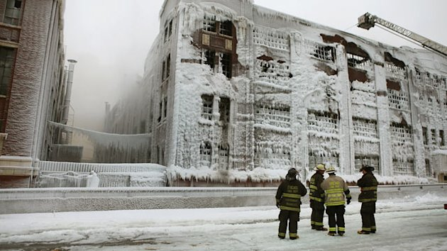 Ice From Fire Hoses Threatens Building (ABC News)