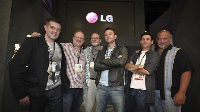 COMMERCIAL IMAGE - From left, Shane Davis, Bob Schrek, Mark Waid, Chris Hardwick, Max Brooks and Matt Wagner pose during preview night after kicking off the LG Electronics and Legendary Pictures partnership at Comic-Con on Wednesday July 11, 2012 in San Diego, Calif. (Photo by Jeff Bottari/Invision for LG Mobile Phones/AP Images)