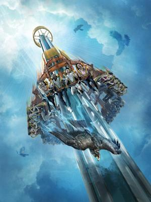This artist's rendering supplied by Busch Gardens shows Falcon's Fury, a new thrill ride opening May 1 at the theme park in Tampa, Fla. The ride will seat riders upright, take them to the top of a 335-foot tower, then pivot seats 90 degrees so riders face straight down as they plunge 60 mph in a six-second free fall. (AP Photo/Busch Gardens Tampa)