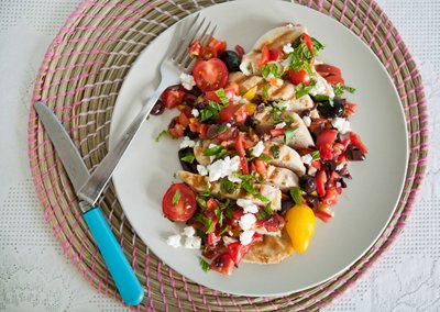 Grilled Chicken Breasts with Tomato, Olive, and Feta Relish