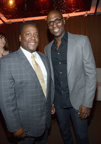 Wendell Pierce and Lance Reddick enjoy the Fourth Annual Audi Pre-Golden Globes Party on January 6, 2013.