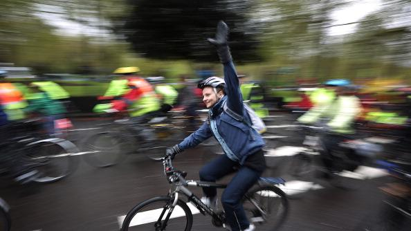 Cyclists take part in the Big Ride cycle campaign in Park Lane on April 28, 2012 in London, England. Campaigners particpated in the event to call for safer streets for cyclists. (Photo by Peter Macdiarmid/Getty Images)