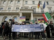 Campaigners from the International Contergan Thalidomide Alliance protest outside the German embassy in London in 2008 as part of a worldwide bid to sue the company behind the drug. An estimated 10,000 children worldwide were born with deformities as a result of their mothers taking thalidomide