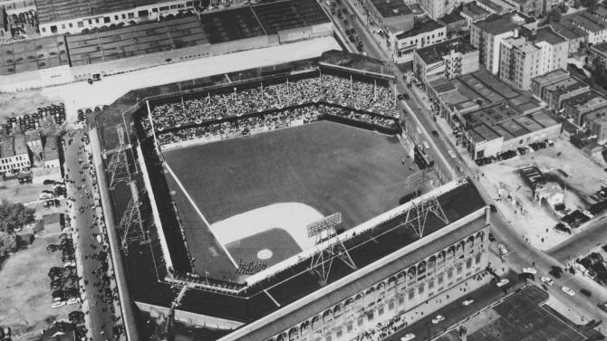 "FILE - This July 1954 file photo shows an aerial view of Ebbets Field stadium in the Brooklyn borough of New York. With the new movie ""42"" bringing the Jackie Robinson story to a whole new generation, fans young and old may be interested in seeing some of the places in Brooklyn connected to the Dodger who integrated Major League Baseball. (AP Photo, file)"