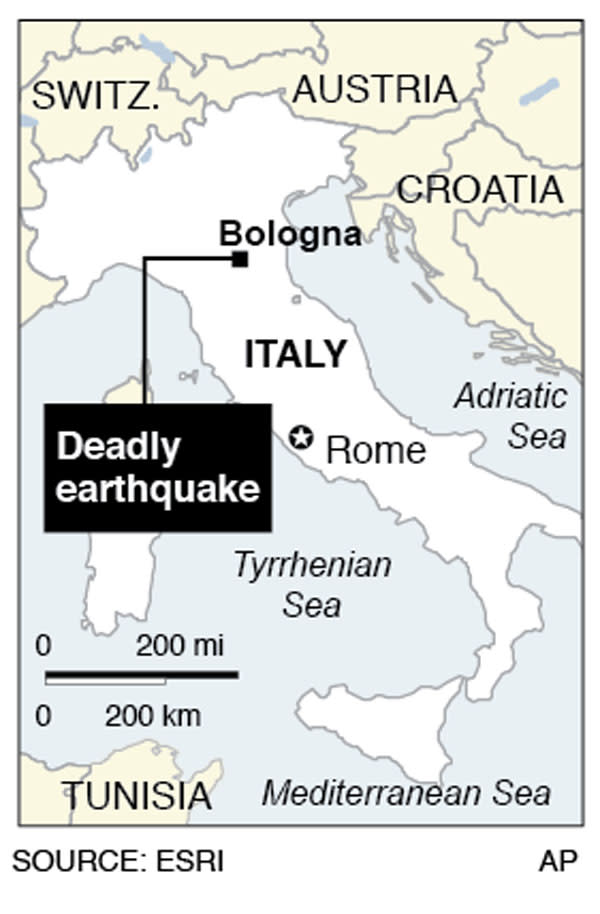 Map locates Bologna, Italy near where an earthquake hit;