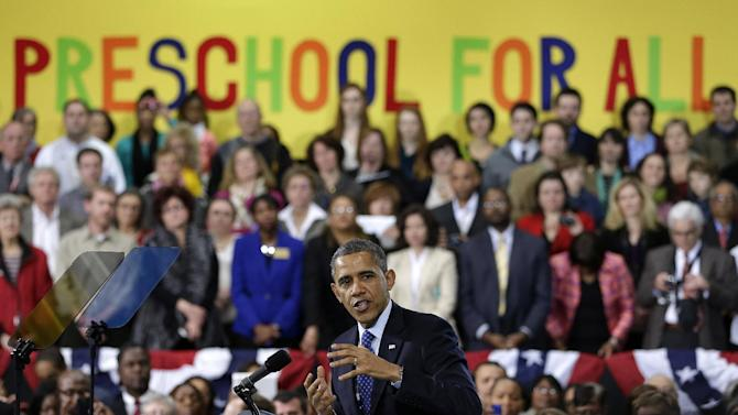President Barack Obama gestures as he speaks at the Decatur Recreation Center in Decatur, Ga., Thursday,  Feb. 14, 2013 in Decatur, Ga., about his plans for early childhood education, this following his State of the Union address.  (AP Photo/John Bazemore)