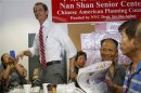 Former U.S. congressman from New York and current Democratic candidate for New York City Mayor Weiner arrives to a campaign stop at the Nan Shan Senior Center, in the Queens borough of New York