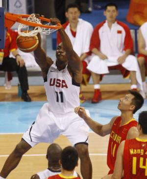 Dwight Howard dunking for Team USA