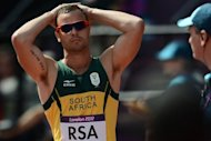 South Africa's Oscar Pistorius is seen during the London 2012 Olympic Games. Pistorius, the first double amputee to take part in the Olympics, had a scare when South Africa team-mate Ofentse Mogawane crashed out of the 4x400m relay heats, apparently ending his medal hopes. But Kenya were disqualified over Mogawane's fall and South Africa were reinstated to the final on appeal