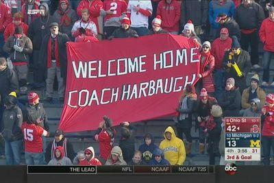 Ohio State fans troll hard with 'Welcome Home Coach Harbaugh' sign