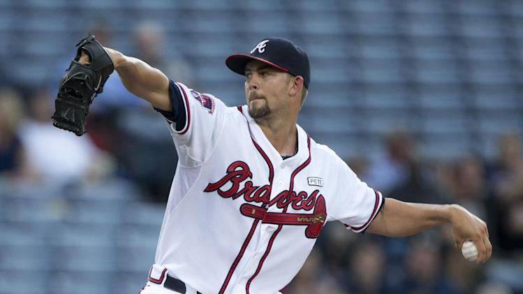 Atlanta Braves starting pitcher Mike Minor (36) works in the first inning of a baseball game against the Philadelphia Phillies Tuesday, Sept. 2, 2014, in Atlanta. (AP Photo/John Bazemore)