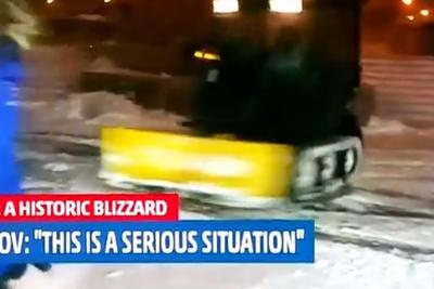 This snow plow doing donuts is a 'serious situation'