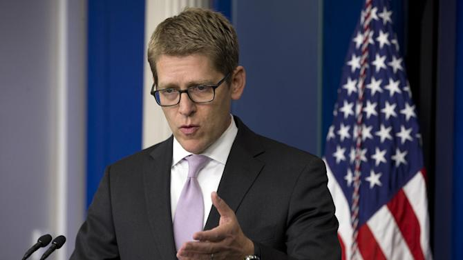 White House press secretary Jay Carney gestures as he speaks during his daily news briefing at the White House in Washington, Wednesday, May 22, 2013. At the briefing Carney announced that President Obama will travel to Oklahoma to visit tornado affected communities. (AP Photo/Jacquelyn Martin)