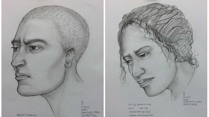 This combo image of composite sketches provided by the Los Angeles Police Department on Tuesday, Nov. 13, 2012, shows a suspect, left, in the possible abduction of a teenage girl or woman, right, after witnesses reported seeing a man drag her away by the hair. The apparent victim, described as 13 or older _ and possibly a small woman _ was reported kidnapped Monday night near a recreation center during an argument with the young man who may be between 18 and 20, police said. Searchers on foot and horseback combed 455 acres of the El Sereno hills while others flew overhead in a helicopter and dog handlers deployed bloodhounds. (AP Photo/Los Angeles Police Department)