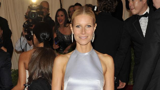 Gwyneth Paltrow arrives at the Metropolitan Museum of Art Costume Institute gala benefit, celebrating Elsa Schiaparelli and Miuccia Prada, Monday, May 7, 2012 in New York. (AP Photo/Charles Sykes)