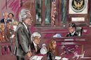 Court artist's sketch shows disgraced financier Madoff standing during his sentencing hearing in New York