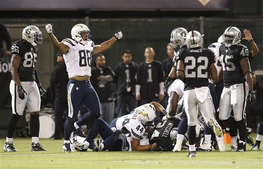 Chargers beat Raiders 22-14 in opener