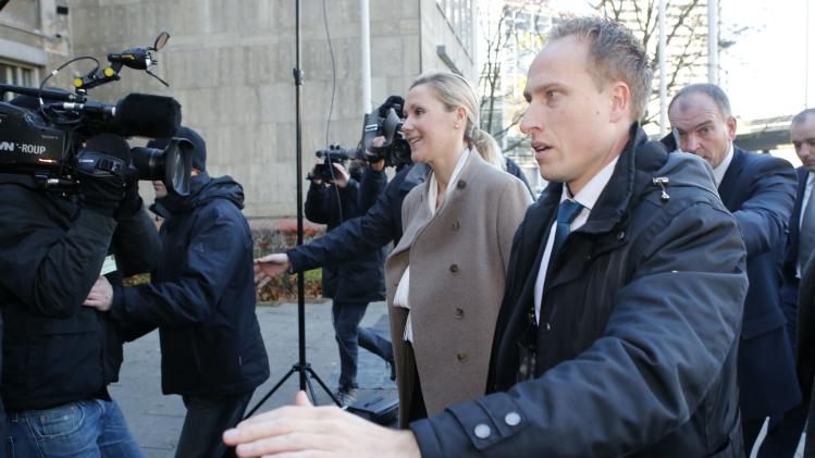 Bettina Wulff, wife of former German President Christian Wulff arrives to testify at his trial at the regional court in Hanover