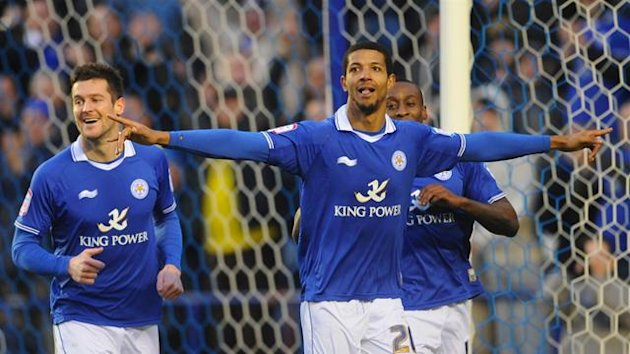 Leicester City&#39;s Jermaine Beckford celebrates his second goal