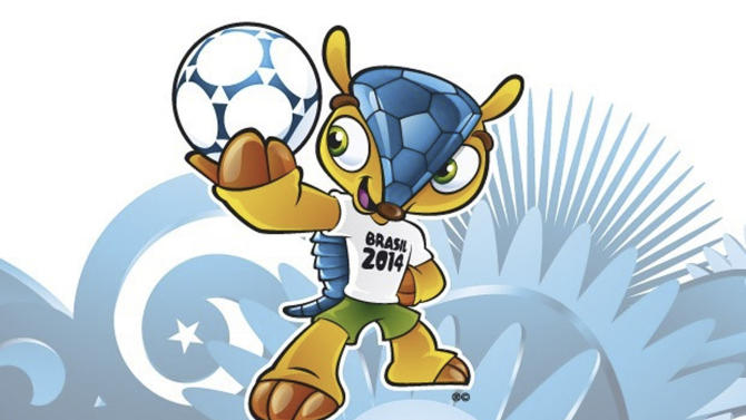 "FILE - This file image posted on the FIFA website shows the mascot of the 2014 World Cup soccer tournament. Brazilians have selected the name ""Fuleco"" for the three-banded armadillo mascot for the 2014 World Cup after a three-month voting process that was derided by fans as undemocratic. FIFA said Sunday, Nov. 25, 2012 that more than 1.7 million people in Brazil took part in the controversial vote to select the name for the mascot. The other options were Zuzeco and Amijubi. (AP Photo/FIFA, File)"