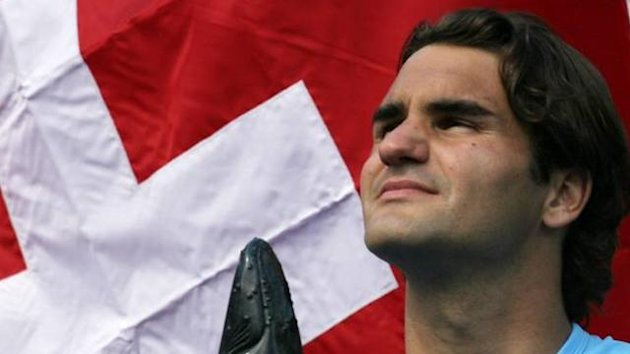TENNIS Roger Federer Swiss flag