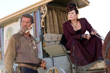 Pierce Brosnan and Anjelica Huston in Samuel Goldwyn Films' Seraphim Falls