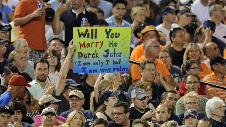 A fan of the New York Yankees' Derek Jeter holds up a sign during a baseball game, Friday, July 11, 2014, in Baltimore. The Orioles won 3-2 in ten innings. (AP Photo/Nick Wass)
