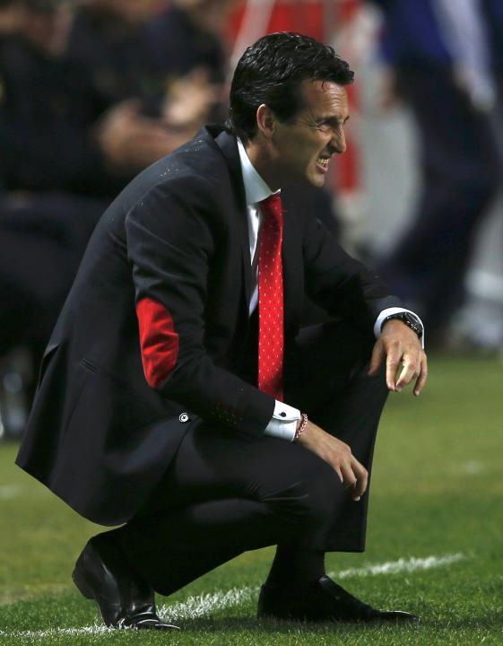 Sevilla's coach Unai Emeri reacts during their soccer match against Real Betis in Seville