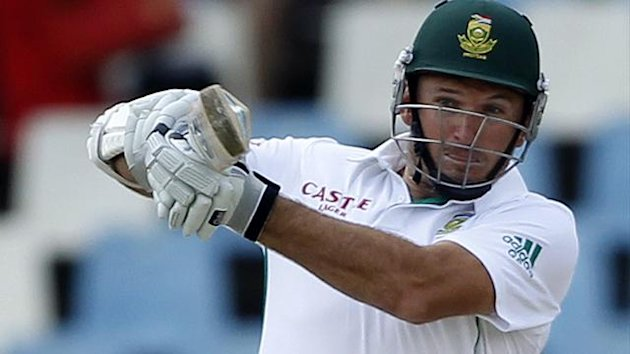 South Africa's captain Graeme Smith plays a shot
