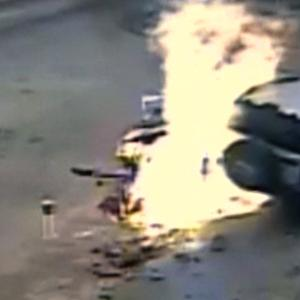 Watch: SUV crashes into gas pumps, catches fire