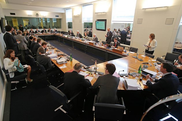 Participants are seen prior to the hearing at the FIA headquarters in Paris