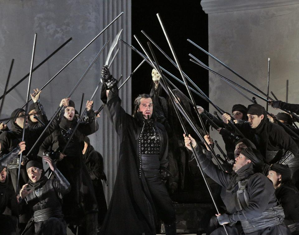 "In this undated photo provided by the Santa Fe Opera, Luca Pisaroni performs in the Santa Fe Opera production of Rossini's ""Maometto II."" (AP Photo/Santa Fe Opera, Ken Howard)"