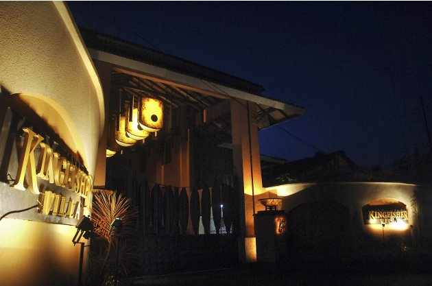 The exterior view of Kingfisher Villa is seen in the western Indian city of Goa