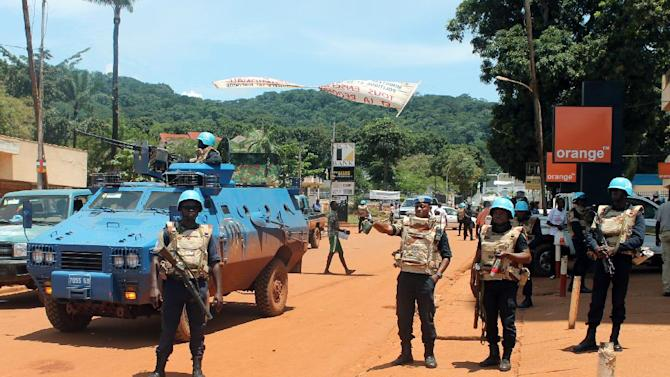 United Nations peacekeepers in the center of the Central African Republic capital Bangui on October 8, 2014