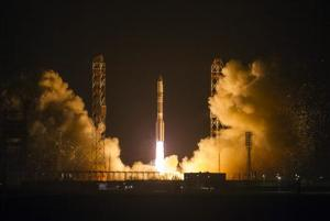 The Proton-M booster blasts off with the Satmex 8 communication satellite at Baikonur cosmodrome