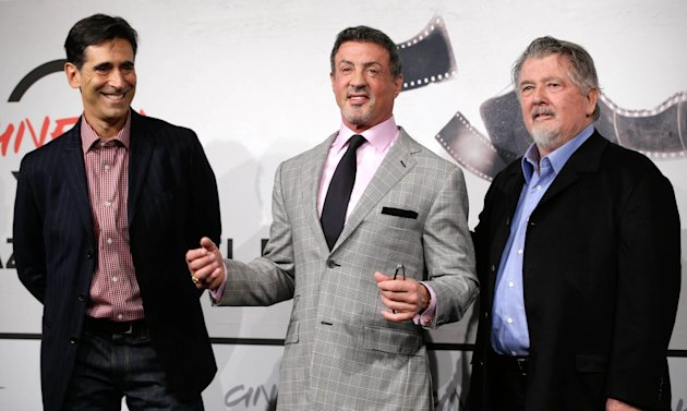 From left, writer Alessandro Camon, actor Sylvester Stallone and director Walter Hill pose during the photo call of the movie &quot;Bullet to the Head&quot; at the 7th edition of the Rome International Film Festival in Rome, Wednesday, Nov. 14, 2012. (AP Photo/Andrew Medichini)