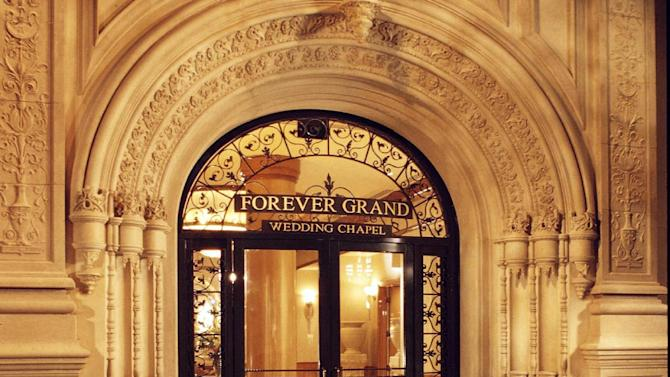This undated image released by MGM Resorts shows the Forever Grand Wedding Chapel in Las Vegas, Nev. Thursday is a special day, numerically speaking: It's 10-11-12. The wedding chapel is offerinf a special numerology package on 10-11-12, that includes a chapel, a pianist, a minister, and a limo to the courthouse.  (AP Photo/MGM Resorts)